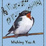 Singing Bird Birthday Card Poster
