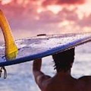 Single Fin Surfer Poster
