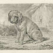 Sitting Dog In A Barn, Johannes Mock Poster