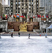Skating At Rockefeller Plaza Poster