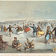 Skating In Central Park. New York Poster