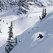 Skier Hitting Powder Below Nak Peak Poster