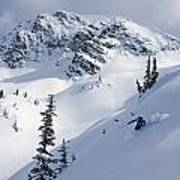 Skier Shredding Powder Below Nak Peak Poster