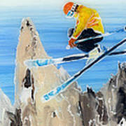 Skiing At Flegere Poster by Sara Pendlebury