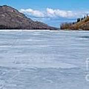 Skiing On Frozen Lake Laberge Yukon Canada Poster