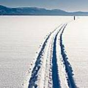 Skiing Person On Frozen Lake Poster