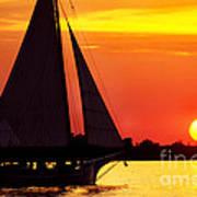 Skipjack At Sunset Poster
