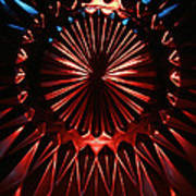 Skc 0285 Cut Glass Plate In Red And Blue Poster