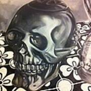 Skull And Hourglass Poster