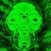 Skull In Radioactive Negative Green Poster