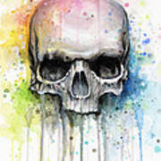 Skull Watercolor Painting Poster