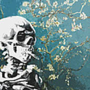 Skull With Burning Cigarette On Cherry Blossom Poster