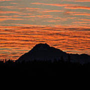 Skyfire Over The Olympic Mountains Poster