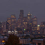 Skylines At Dusk, Seattle, King County Poster