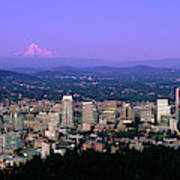 Skylines In A City With Mt Hood Poster