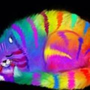 Sleepy Colorful Cat Poster