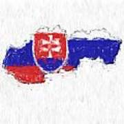 Slovakia Painted Flag Map Poster