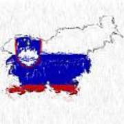 Slovenia Painted Flag Map Poster