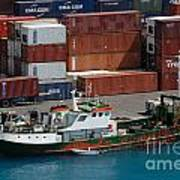 Small Boat With Cargo Containers Poster