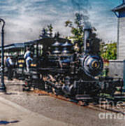 Small Boy Waiting For Steam Engine Poster by Janice Sakry