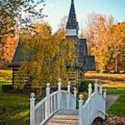Small Chapel Across The Bridge In Fall Poster