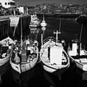 small fishing boats in bunbeg harbour county Donegal Republic of Ireland Poster