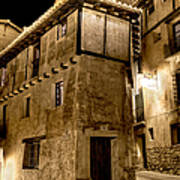 Small House In Albarracin At Night Poster
