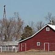 Small Red Barn With Windmill Poster