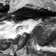 Small Stream Smoky Mountains Bw Poster
