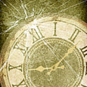 Smashed Clock Face Poster