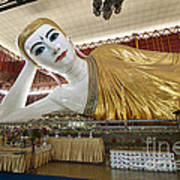 Smiling Reclining Buddha In Yangon Myanmar Poster