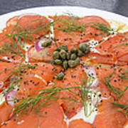 Smoked Salmon Pizza Closeup Poster
