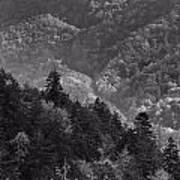 Smoky Mountain View Black And White Poster