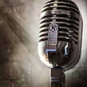 Smoky Vintage Microphone Poster
