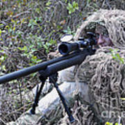 Sniper Dressed In A Ghillie Suit Poster