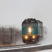 Passenger Train Blowing Snow On Curve Poster