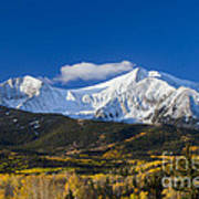 Snow Covered Mount Sopris With Golden Aspen Trees Poster