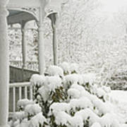 Snow Covered Porch Poster