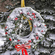Snow Covered Wreath Poster