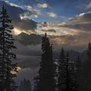Snow Lake Sunset Poster