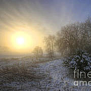 Snow Landscape Sunrise Poster