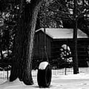 Snow On Tire Swing Poster