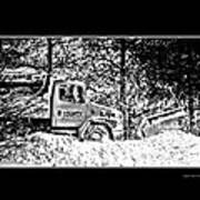 Snow Plow In Black And White Poster