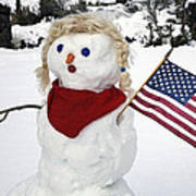 Snow Woman With Flag Poster
