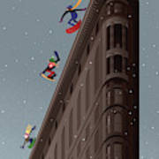 Snowboarders Fly Off The Flatiron Halfpipe Poster