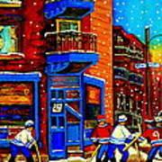 Snowday Hockey Practice Wilenskys Corner Fairmount And Clark Montreal City Scene Carole Spandau Poster