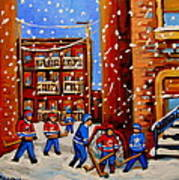 Snowfall Hockey Game Winter City Scene Poster by Carole Spandau