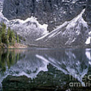 Snowfield Reflection On Blue Lake  Poster