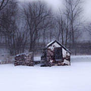 Snowing At Narcissa Road Springhouse Poster