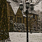 Snowing At Stokesay Castle Poster
